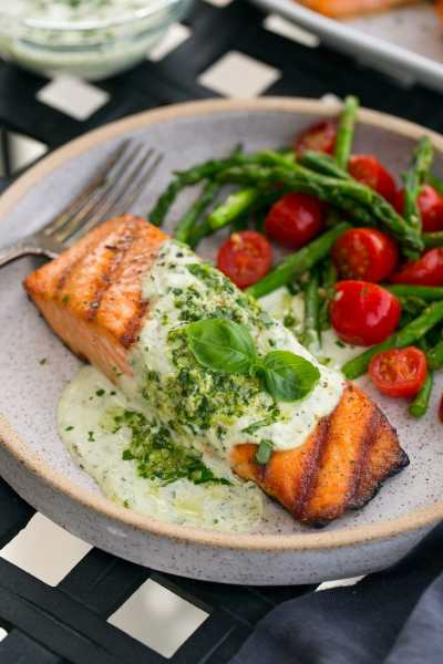Grilled Salmon with Creamy Pesto Sauce - Cooking Classy