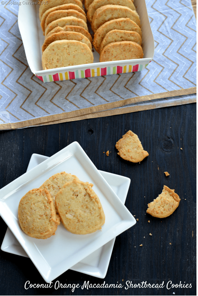 Coconut Orange Macadamia Shortbread Cookies - Cooking Curries