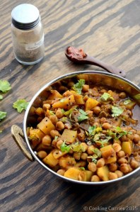 Achari Aloo Chole ~ Potato and Garbanzo Bean Curry with Pickling Spices