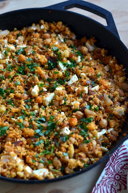 Skillet Harissa Couscous with Chickpeas, Spinach and Feta - Cooking ...