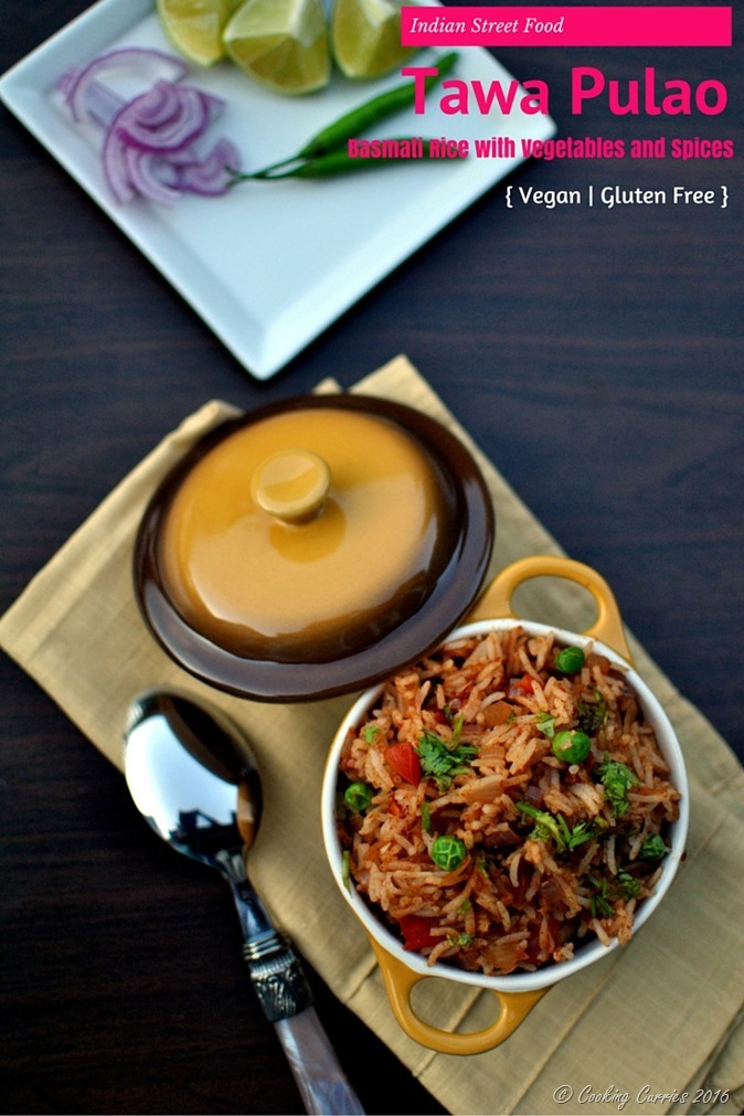 Tawa Pulao - Basmati Rice with Vegetables and Spices - Vegan, Gluten Free, Indian Food - www.cookingcurries.com