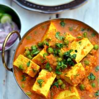 Matar Paneer - Paneer and Green Peas in a Spiced Tomato Sauce