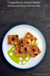 5 Ingredient Peanut Butter Chocolate Chips Cereal Bar