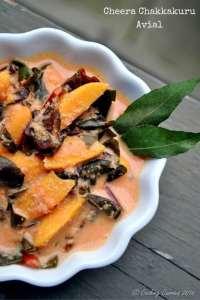 Cheera Chakkakuru Avial – Amaranth Jackfruit Seeds in a Spiced Coconut Sauce