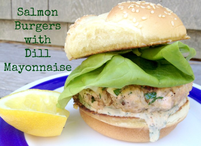 Salmon Burgers with Dill Mayonnaise