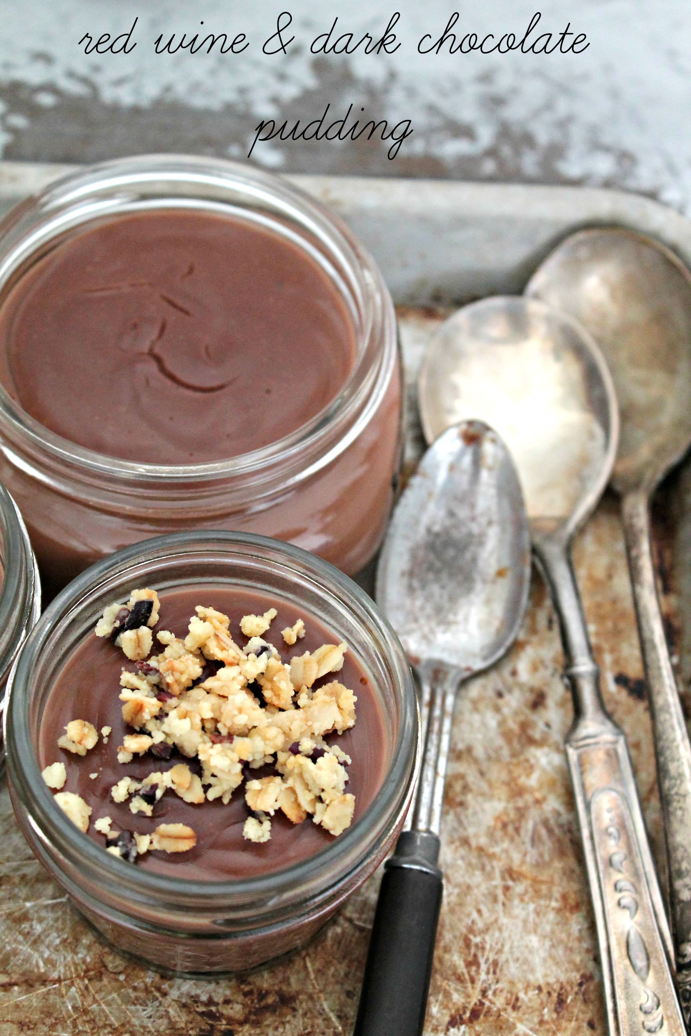 Red Wine & Dark Chocolate Pudding - Cooking with Books