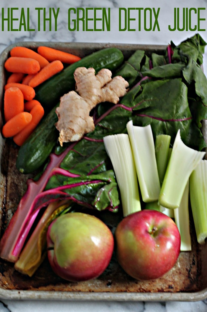 Juice the way to a healthier you with this Healthy Green Detox Juice that's packed with rainbow chard, cucumbers, ginger, carrots, and more!