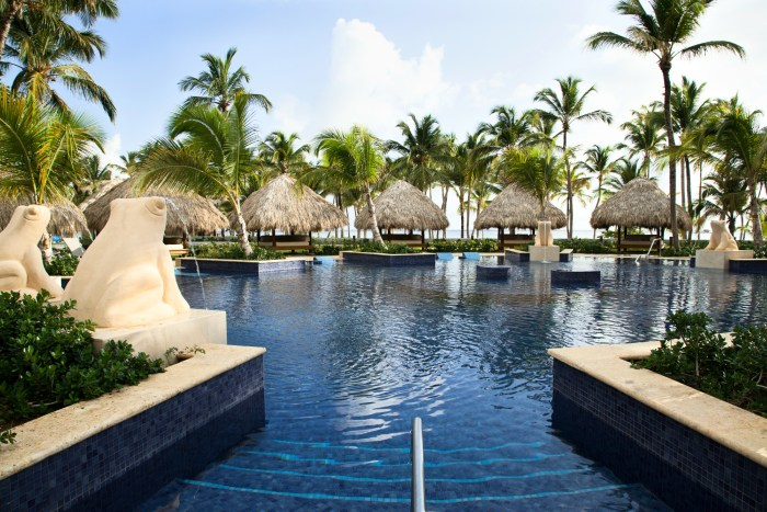 The gorgeous swimming pool at the Barcelo Bavaro Hotel in Punta Cana, Dominican Republic