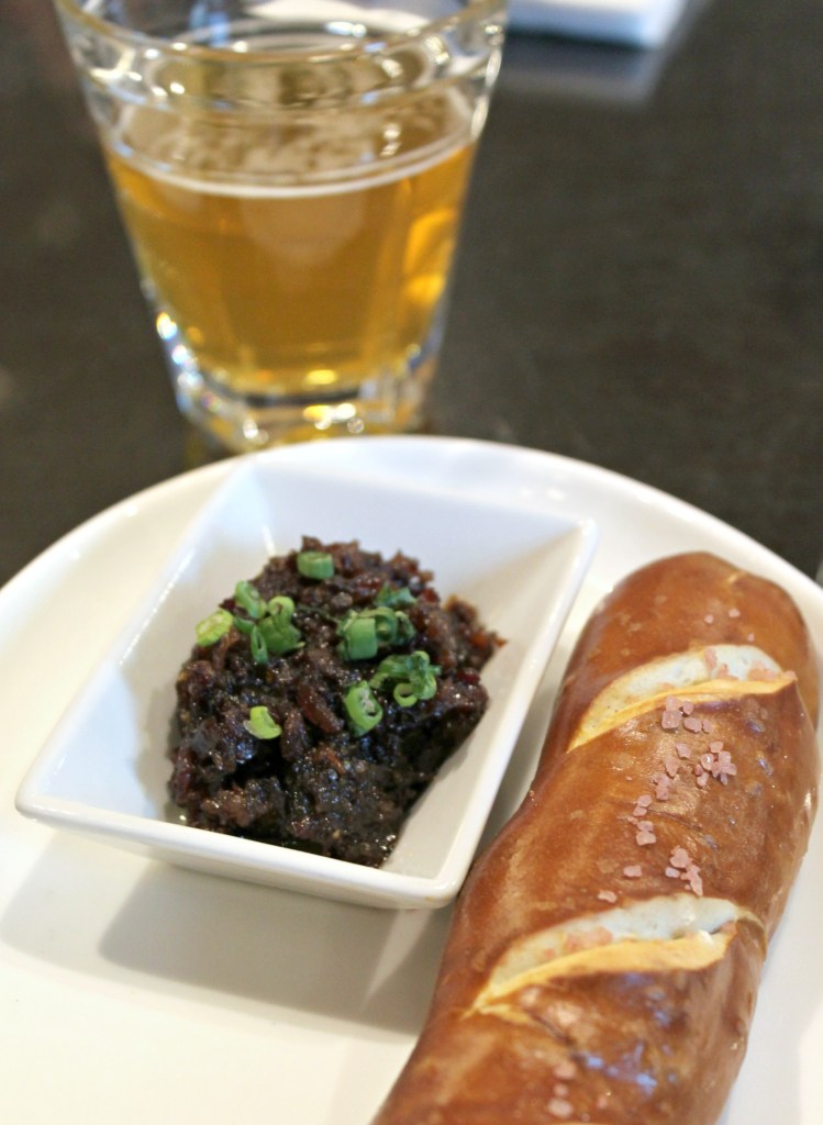 Paired Fresh Soft Pretzel with Sweet Onion & Bacon Jam, paired with Jack's Abbey Mass Rising