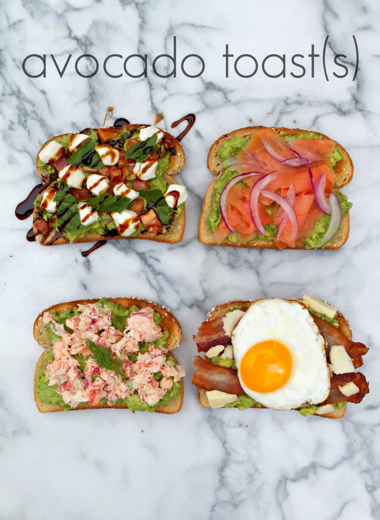 Avocado Toast Four Ways - Get the recipe ideas on CookingWithBooks.net