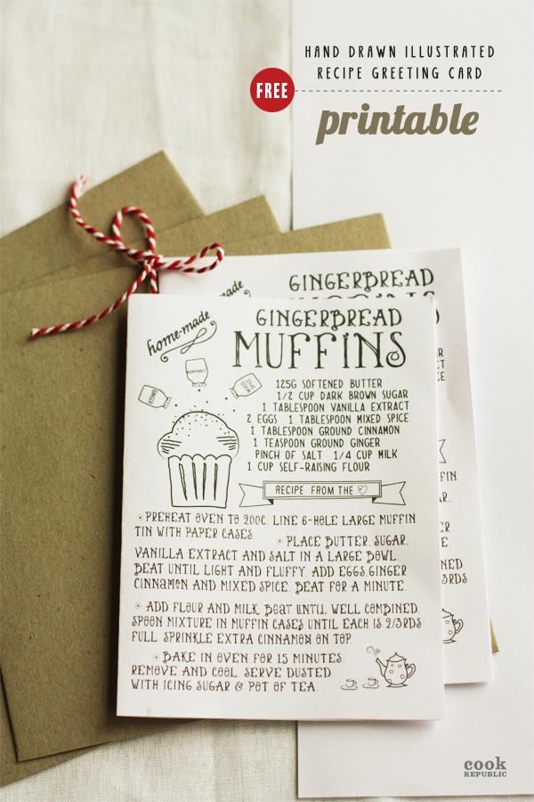 Free Printable - Hand Drawn Illustrated Christmas Recipe Greeting - christmas card printable
