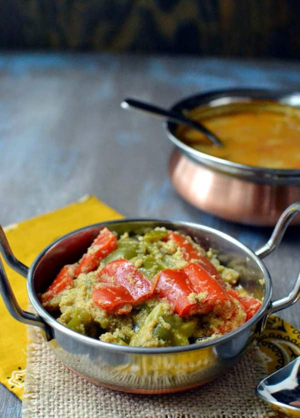 Capsicum Coconut Masala Curry (Peppers in Spicy Coconut Gravy)