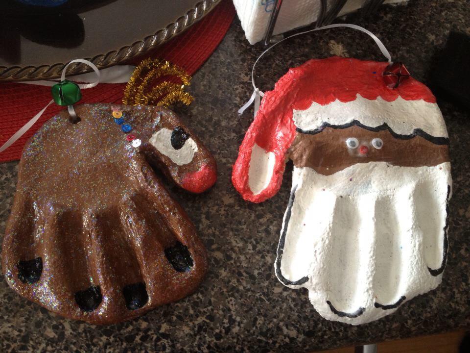 salt dough santa ornaments