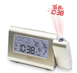 Clock projector with temperature display