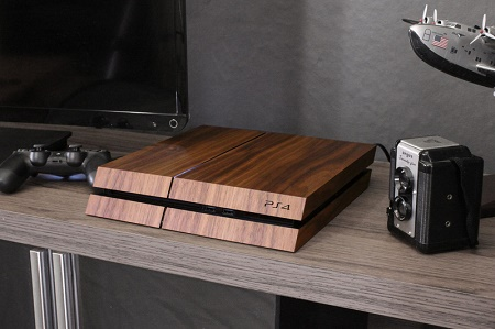 These realistic Wood Decals make consoles look classy