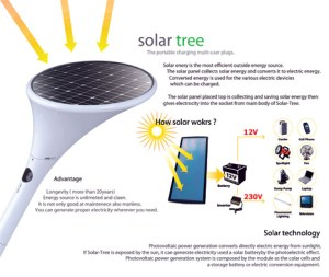 The Solar tree not only convers solar energy, it stores it.