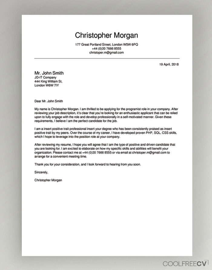free online cover letter samples