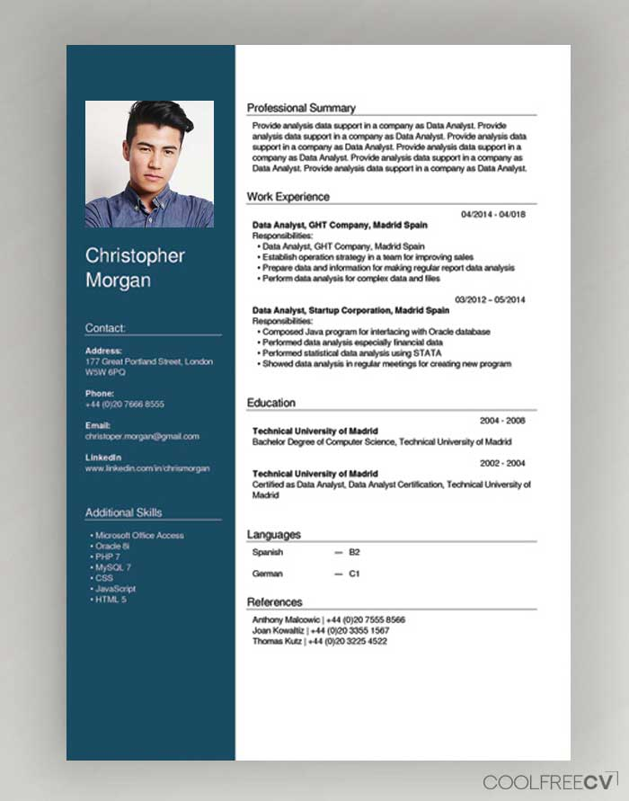 creative cv in english