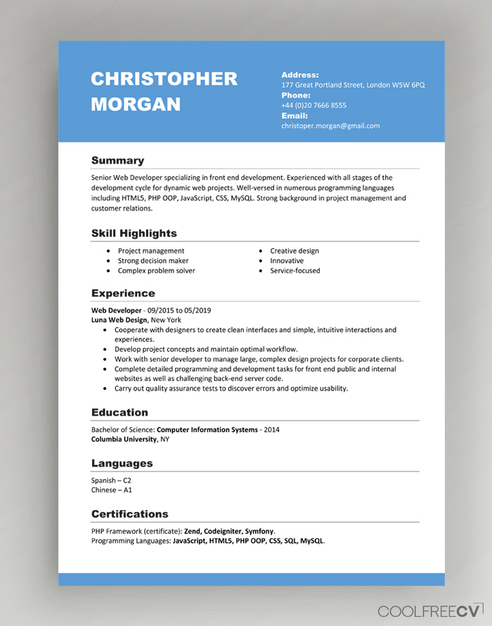 template cv word switzerland