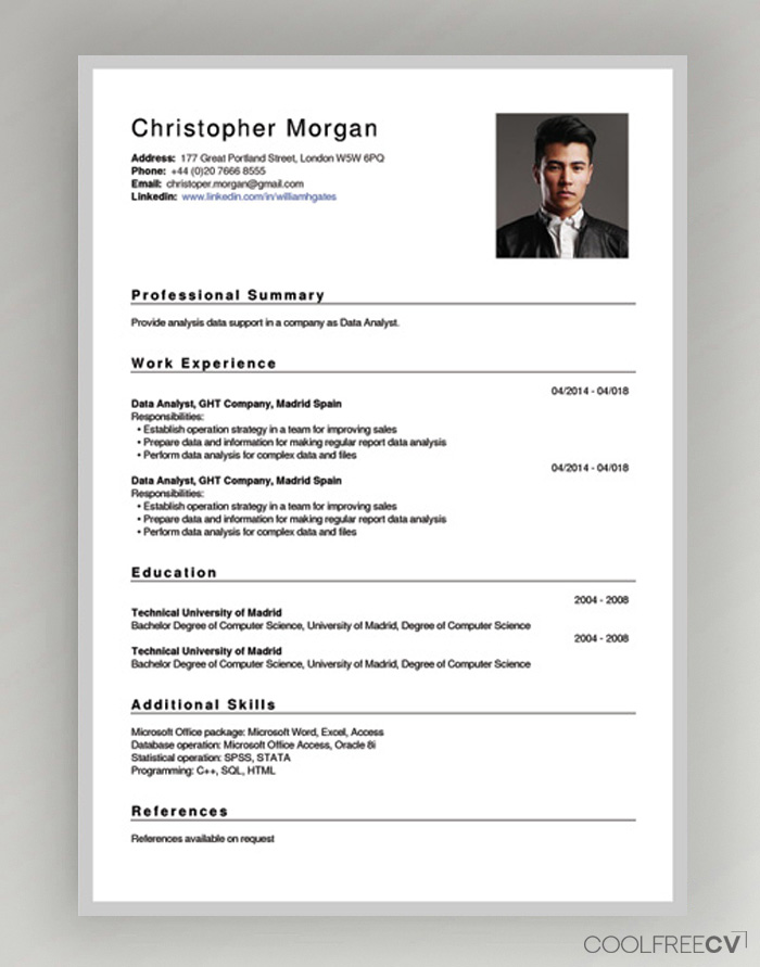 template cv website free