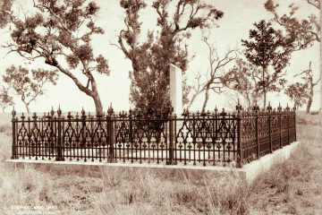Queensland_State_Archives_2404_Davenports_grave_at_Headington_Hill_with_broken_pillar_and_cast_iron_fence_1897