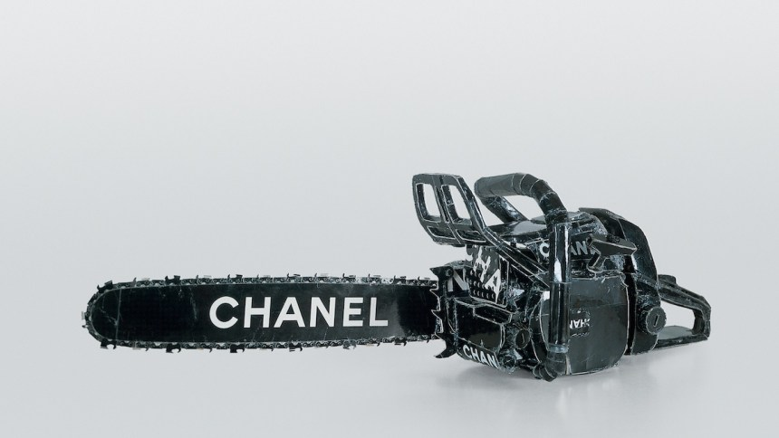 """hanel Chain Saw  1996 cardboard, thermal adhesive 12 x 27 x 37 inches  Included in the upcoming exhibition """"Regarding Warhol: Sixty Artists, Fifty Years,"""" Sept 18-Dec 31, 2012 at The Metropolitan Museum of Art."""