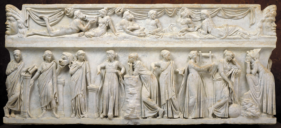 Sarcófago de las Musas, 150-160 d.C. Roma (Italia). Mármol. Musée du Louvre. © RMN-Grand Palais, Musée du Louvre. Foto: Stéphane Maréchalle