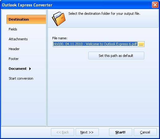 Convert Outlook Express emails to PDF, TIFF, DOC, PST