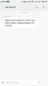 zapstore proof free paytm cash