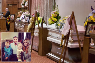The Boren family in happier times, and at their funeral