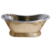 Pedestal Brass Bathtub Nickel Inside - Coppersmith Creations