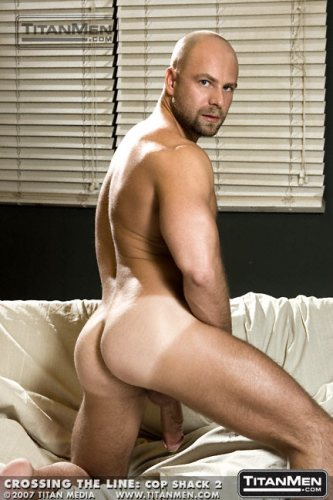 Nick-Horn-Cop-Shack-bald-shaved-head-goatee-hairy-big-cock-Titan-Men-model-gay-porn-star-former-bear-12