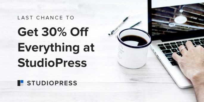 Last Chance to Get 30% Off Everything at StudioPress