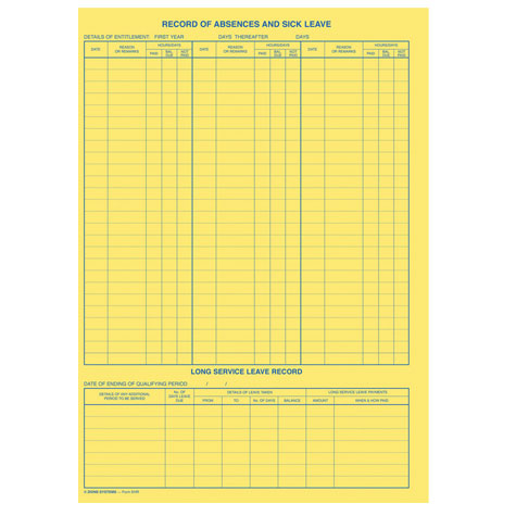 Zions EHR1 Employee History  Leave Record Card PACK 100