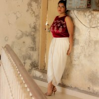 An Indo-Western Look ~ White Dhoti Pants & Crop Top