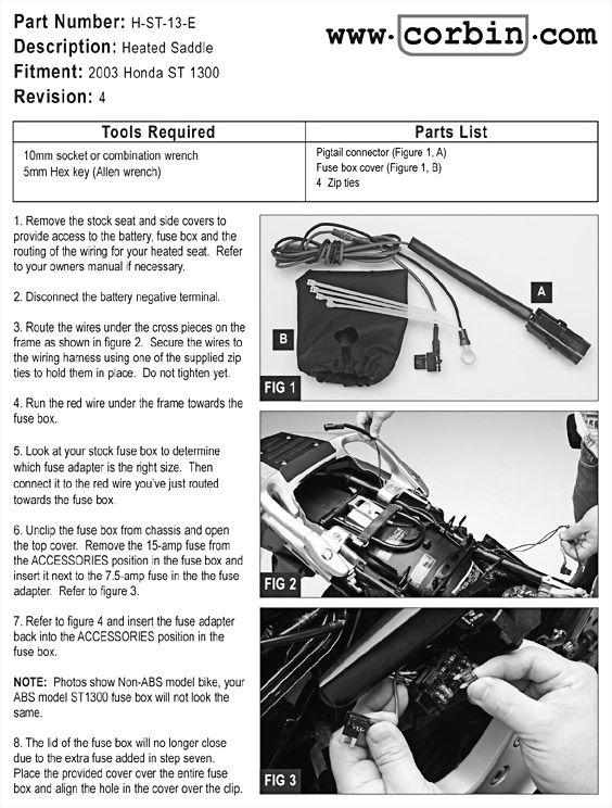 Corbin Motorcycle Seats  Accessories Honda ST1300 800-538-7035