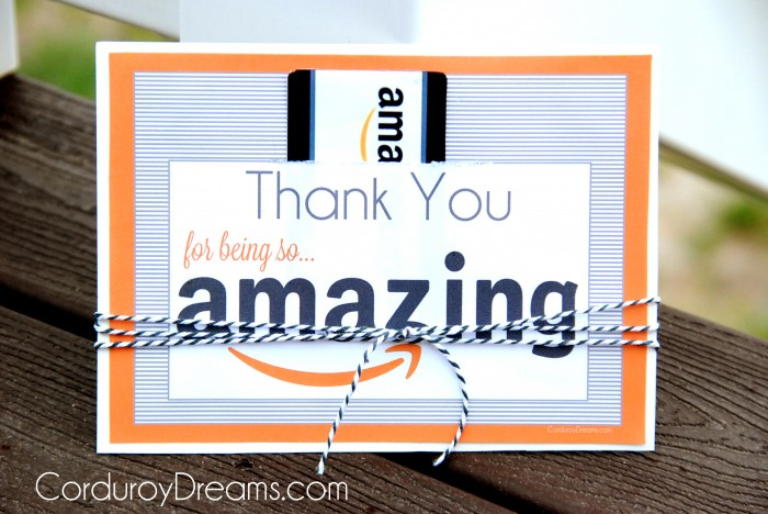 Thank You with Amazon Gift Card {free printable download} - The