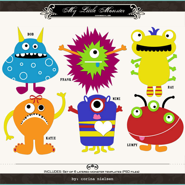 Corina Nielsen  My Little Monster Templates - Monster Template