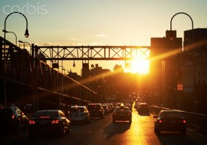 Car traffic at sunset, New York City, USA