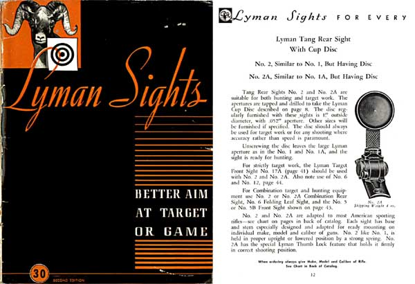 Cornell Publications -Lyman 1945 Gunsights Catalog #30