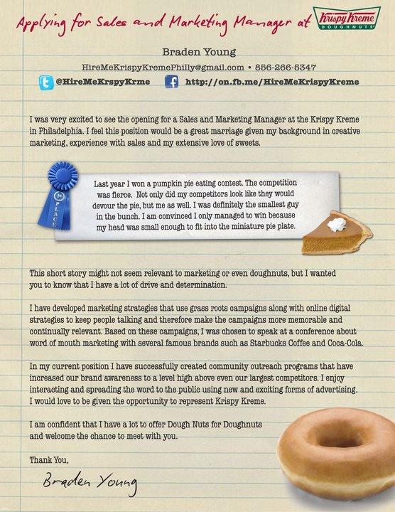 Job Seeker Uses \u201cHire Me\u201d Campaign to Land Dream Job at Krispy Kreme