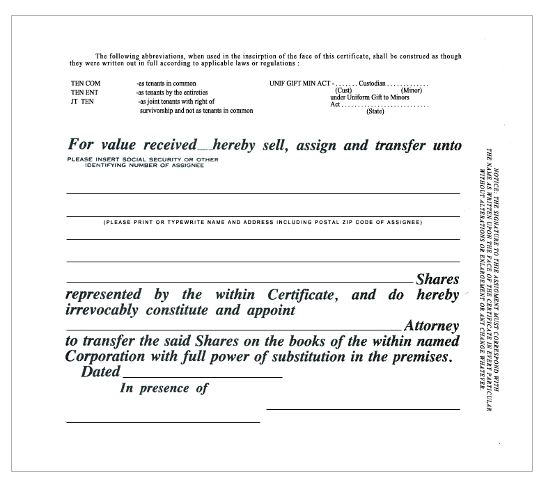 Standard Wording Stock Certificates - gift certificate with stub