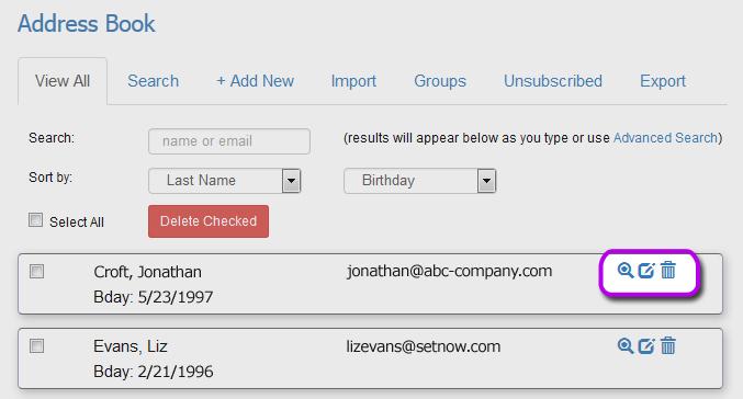 Tutorials - eCards Search Contacts Address Book eCard Contact