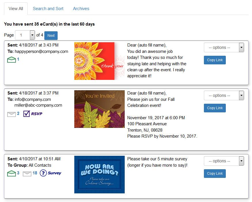 Tutorials - Sent eCards Pickup Tracking Invitations Surveys eCard - rsvp e cards