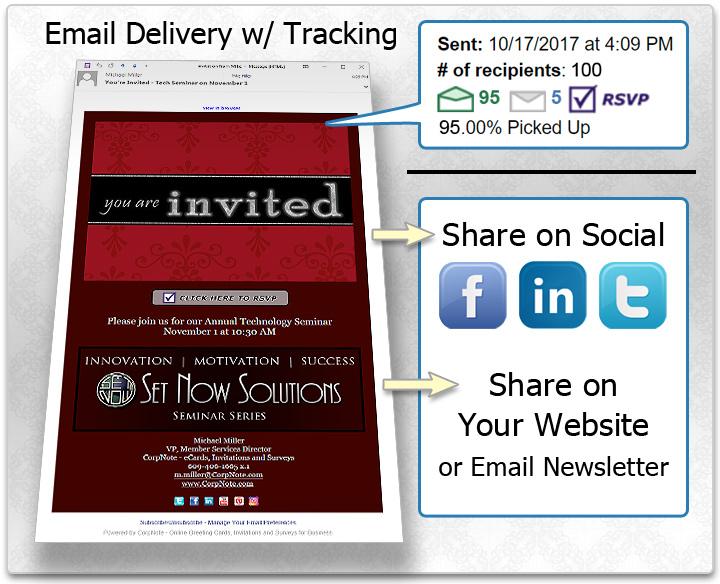 Business eCards Online Greeting Cards Invitations Surveys - rsvp e cards