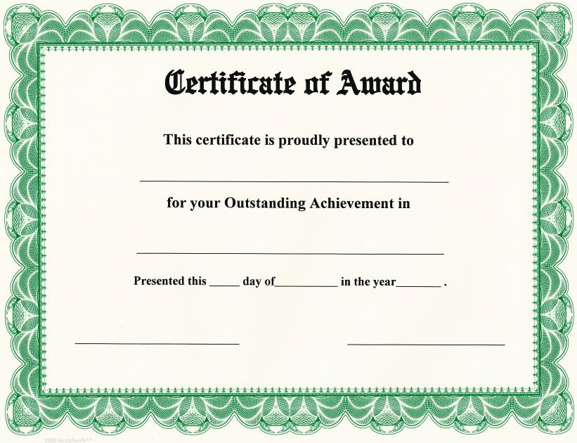 Certificate of Award on StockSmith Border / Qty 20