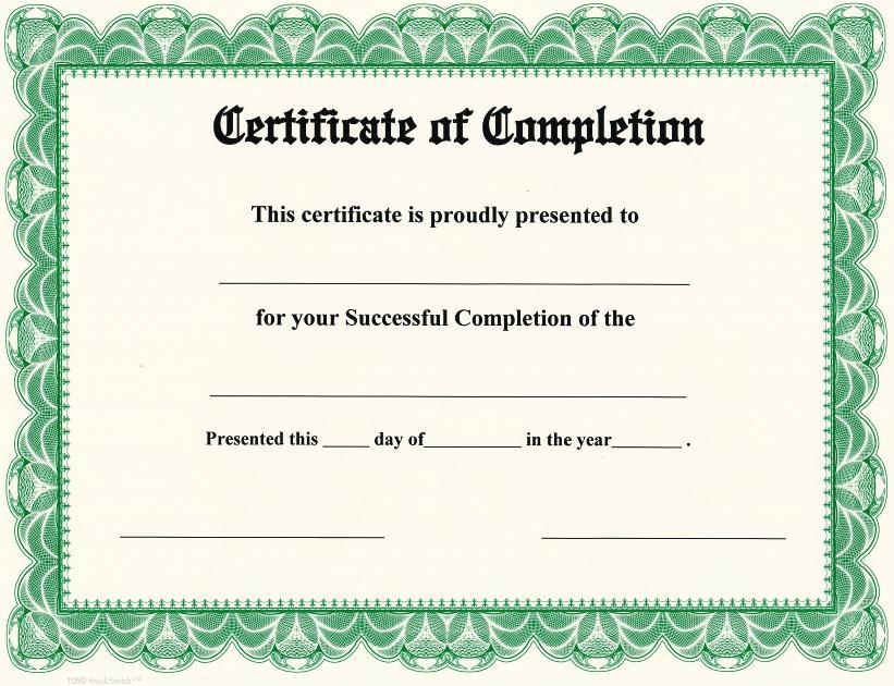 certificate of achivement