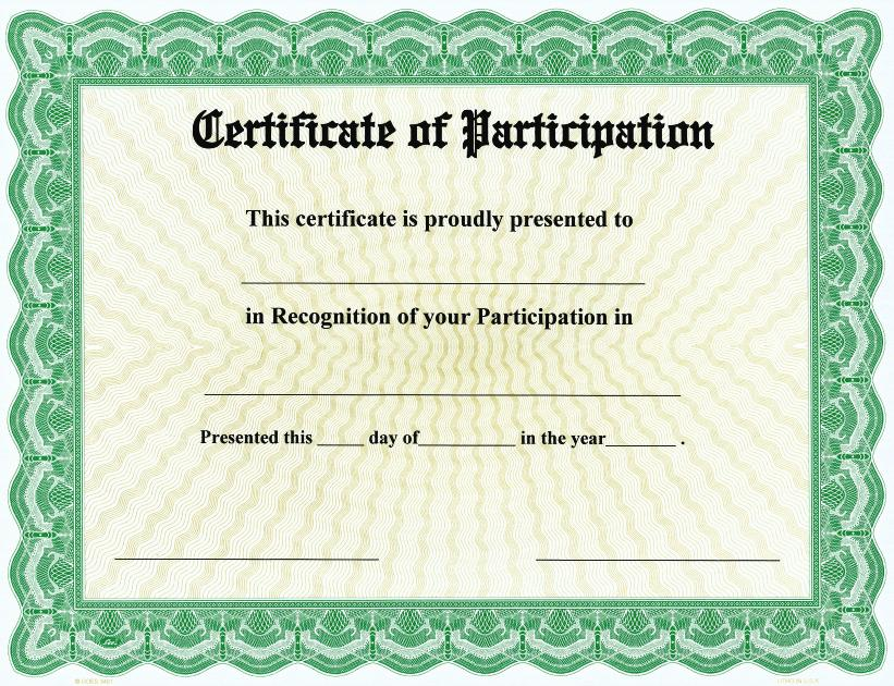 Certificate of Participation on Goes® Bison Series Border / Qty 25
