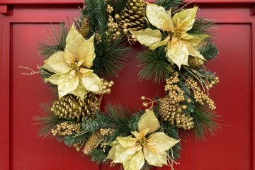 Christmas wreath on red painted door