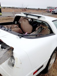 Fence posts impaled the Corvette. Despite the damage, the driver walked away from the crash. —Photo courtesy Edgartown Police